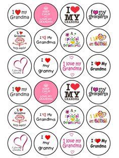 24 x Edible Mothers Day I Love Grandma Nanny Birthday Cake Cupcake Toppers | eBay