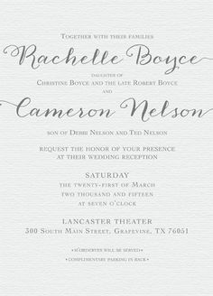 Rachelle Boyce Front Simple Wedding Invitations, Announcement, Wedding Reception, Marriage Reception, Wedding Reception Ideas, Wedding After Party, Wedding Ceremonies