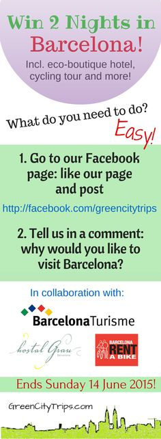 Win two nights at eco-chic Hostal Grau in Barcelona! Plus 12 hours bike rental from Barcelonarentabike.com and 2 Unlimited Passes from Visit Barcelona! Our way to say thank you and to celebrate one year of GreenCityTrips.com! Visit our Facebook page to participate http://www.facebook.com/greencitytrips For more info: http://greencitytrips.com/win-two-nights-accommodation-in-barcelona/