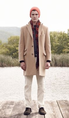 Made in the USA Camel Hair Topcoat, Roving Wool FNR V-Neck Sweater,  Edward Casual Shirt, Scott Cord Trouser, Kensington Hat,  Jackson Tartan Scarf, Samson Sweater Tie, David Climbing Belt, Clarks Desert Boot #menswear #fall2 #october #clubmonaco