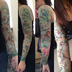 It's finished! My wee birdies sleeve #tattoo #bird #birdtattoo