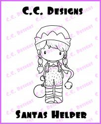 C.C. Designs Swiss Pixie Santas Helper Rubber Stamp