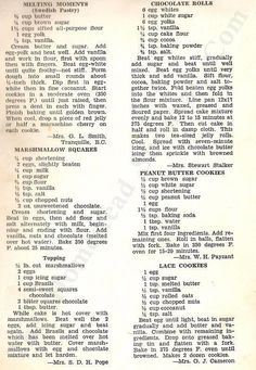 22 Vintage Delicious Desserts Recipes from 1952 Healthy recipes Retro Recipes, Old Recipes, Vintage Recipes, Cookbook Recipes, Healthy Recipes, Cookie Recipes, Sweet Recipes, Dessert Recipes, Family Recipes