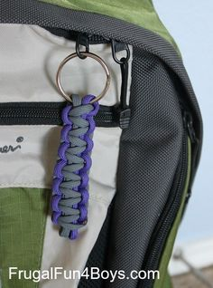 Here's a fun back-to-school project:  Make parachute cord zipper pulls or key chains to personalize backpacks!
