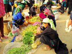 Giay and White Hmong women in Dong Van market #Vietnam…