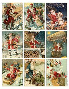 Jahrgang Santa Weihnachtskarten ATC Hintergrund Collage Sheet druckbare digitale Download-Datei