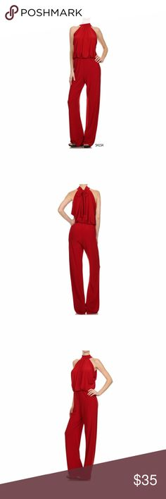 High Neck Keyhole Back Halter Red Jumpsuit Small High Neck Keyhole Back Halter Red Jumpsuit  Made of Small Has a keyhole back at the neckline and elastic waist.  Made of stretchy polyester material. Sexy Diva Pants Jumpsuits & Rompers