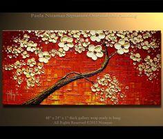 """Tree Painting Cherry Tree Oil acrylic Painting 48"""" x 24"""" , Cream, Reds, Orange, Brown, from P. Nizamas Ready to hang"""