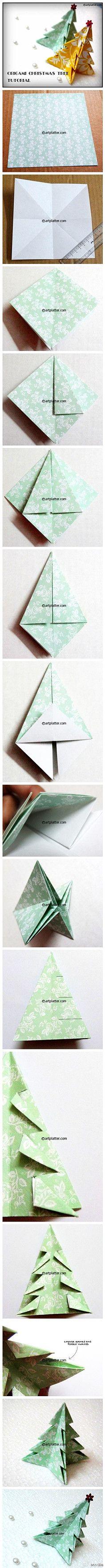 #折纸教程# 动手折圣诞树啦~~~(转自几分钟…