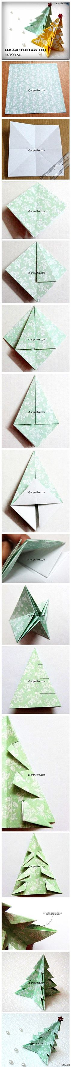 # # Hands folded origami Christmas tree tutorial friends ~ ~ ~ (from a few minutes ...