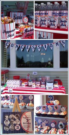 "Love this Birthday Party theme for Little Boys! We did this as well for my nephew Grant. It was a hit! The cupcakes and cake - I used licorice ""strings"" and cut them to make the stripes on the baseballs! It was SO much easier than using icing. And, the kids loved the treat of licorice on top of the cake! ;)"