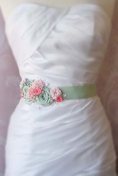 Seafoam Green and Coral Pink Sash, Pale Mint Bridal Sash, Coral Pink Wedding… Wedding Belts, Wedding Sash, Bridal Sash, Bridal Belts, Pink Wedding Theme, Wedding Colors, Wedding Stuff, Wedding Ideas, Bridal Brooch Bouquet