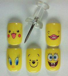 Japanese nail art. Yellow Characters.