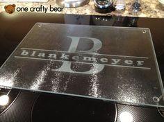 """Personalized Glass Cutting Board Large 12""""x16"""" by OneCraftyBear on Etsy, $30.00  www.etsy.com/shop/onecraftybear"""