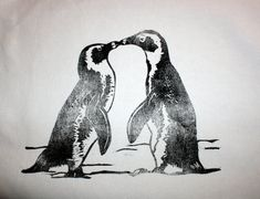 Kissing Penguins hand printed decorative animal by KerryCherry, $28.00
