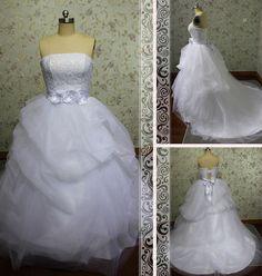 Romantic Strapless White Lace Bodice by Loveannaweddingdress, $265.00