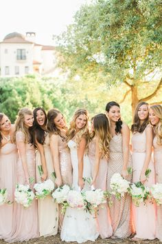 5 Style Lessons For Mismatched Bridesmaid Dresses - Pack on the texture for a pretty effect. from InStyle.com