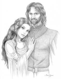 Fanart of Arwen and Aragorn Aragorn Und Arwen, Fantasy Dragon, Fantasy Art, The Hobbit Characters, Adult Coloring, Coloring Pages, Le Couple Parfait, Elven Princess, Realistic Pencil Drawings
