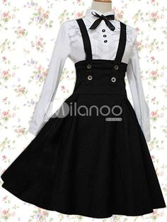 Cotton White Long Sleeves Blouse And Black Classic Lolita Skirt