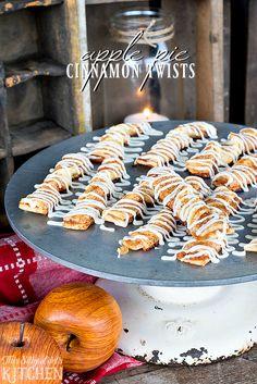 Apple Pie Cinnamon Twists, apple pie turned into a breakfast treat, dripping with vanilla bean glaze! from ThisSillyGirlsKitchen.com