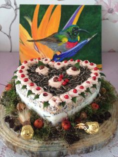 Dit is een speciale taart voor de vogels buiten.
