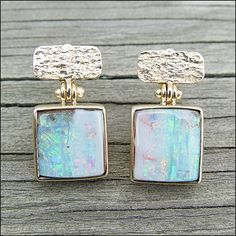 Micky Roof's Design Archives - Opal and gold earrings - even the hinge is handmade at The Jewelbox in Ithaca, NY. Gypsy Jewelry, Jewlery, Fine Jewelry, Unique Jewelry, Opal Earrings, Gemstone Jewelry, Raw Crystal Necklace, Bohemian Accessories, Opal Gemstone