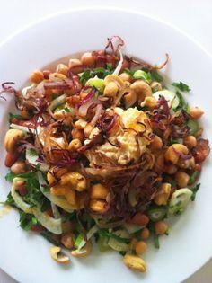 Table Tonic blog Salad: Fennel, continental parsley, borlotti beans, chickpeas, cashews, hummus, caramelized onions, olive oil, apple cider vinegar.
