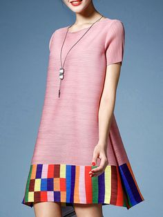 Buy it now. Pink Color Block Pleated Elastic Dress. Pink Round Neck Short Sleeve Shift Short Color Block Fabric is very stretchy Summer Casual Day Dresses. , vestidoinformal, casual, camiseta, playeros, informales, túnica, estilocamiseta, camisola, vestidodealgodón, vestidosdealgodón, verano, informal, playa, playero, capa, capas, vestidobabydoll, camisole, túnica, shift, pleat, pleated, drape, t-shape, daisy, foldedshoulder, summer, loosefit, tunictop, swing, day, offtheshoulder, smock, ...