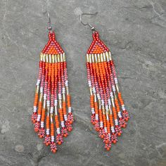 Red orange and gold  beaded earrings by Anabel27shop on Etsy, $16.00