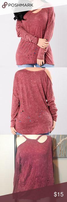 Distressed long sleeve top Distress Long Sleeve Mineral Wash Fashion Nova Tops Tees - Long Sleeve