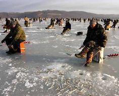 Ice fishing in Vladivostok