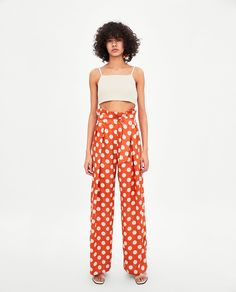 High-waist trousers with false flap pockets on the front and back welt pockets. HEIGHT OF MODEL: 177 CM / Polka Dot Pants, Polka Dots, Pantalon Long, Zara Women, Straight Leg Pants, Wide Leg, Look, Pajama Pants, Trousers