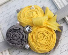 Yellow Shabby Chic Headband- Grey and Yellow HEADBANDS-Rosette Headbands-Gray Headband-Baby Headbands-Shabby Headbands-Vintage Bows. $14.99, via Etsy.