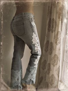 shabby chic jeans upcycled womens clothing boho chic eco by luluxo, $59.99