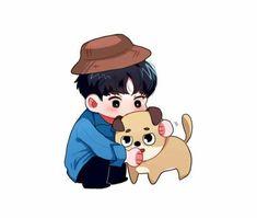 Cute Little Drawings, Cute Drawings, Day6 Dowoon, Bright Wallpaper, Aesthetic Stickers, Kpop Fanart, Bang Bang, Cute Illustration, Chibi