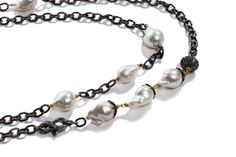 HarperHallam.com Baroque pearl and pave diamond necklace. This bad ass necklace can be worn 5 ways!