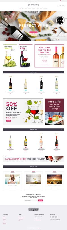 Use this modern responsive Wine Bar WooCommerce Theme to build an impressive online store selling food and drinks. Its clean design based on a light color palette will help you eas. Ecommerce Web Design, Ecommerce Template, Webdesign Inspiration, Inspiration Art, Wine Gift Baskets, Shops, Site Internet, Wine Drinks, Website Template