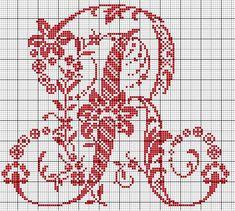 Le Monde de Zabou: Alphabet Sajou R Cross Stitch Books, Cross Stitch Alphabet, Cross Stitch Samplers, Cross Stitching, Cross Stitch Embroidery, Embroidery Patterns, Stitch Patterns, Monogram Cross Stitch, Embroidery Monogram