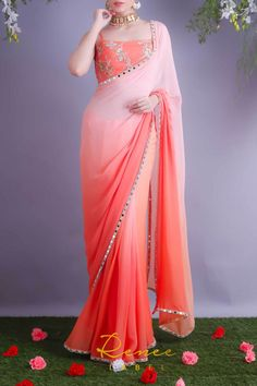 Shop Shaded Blush Tangerine Sari from Renee Label Simple Sarees, Trendy Sarees, Stylish Sarees, Fancy Sarees, Stylish Dresses, Sari Blouse, Sari Dress, Saree Blouse Designs, Lehenga Designs