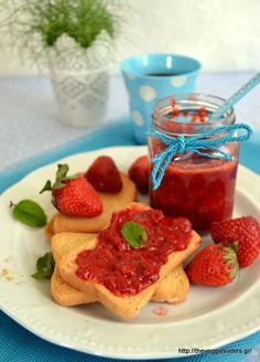 Μαρμελάδα φράουλα χωρίς ζάχαρη - The Veggie Sisters Cereal, Strawberry, Fruit, Breakfast, Food, Morning Coffee, Essen, Strawberry Fruit, Meals