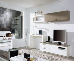 Modern home office layout in the modern living room: 16 top ideas! Tv Unit Images, Desk Tv Stand, Rack Tv, Home Office Layouts, Muebles Living, Tv Furniture, Lounge Furniture, Tv Unit Design, Tv In Bedroom