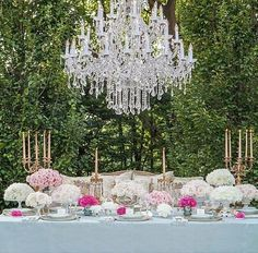 I love this chandeliar concept for weddings!