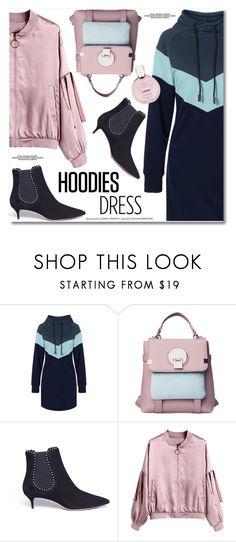 """hoodies dress"" by svijetlana ❤ liked on Polyvore featuring Aquazzura, Chanel, longsleevedress, hoodiedress and GeometricHoodie"