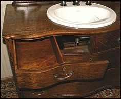 Photo of Open Top Drawer - Antique Bathroom Vanity: Antique Oak Dresser with Kohler sink - Price Pfister Tuscan Bronze Faucet