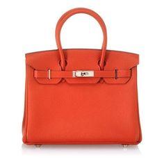Hermes Vintage Red Leather Birkin Handbag found on Polyvore