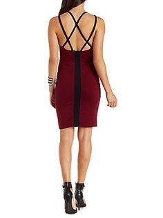 Strappy Color Block Bodycon Dress: Charlotte Russe