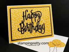 Stampin Up Happy Brithday Thinlits Die Party Animal DSP Balloon Bouquet Punch Birthday card Mary Fish Stampinup