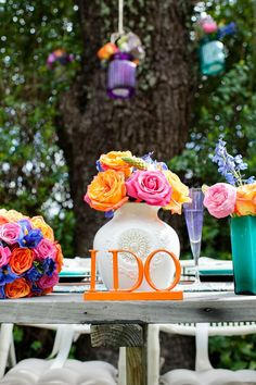 Bright & Colorful Backyard Wedding