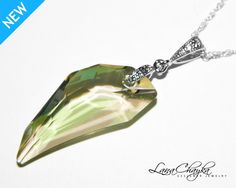 Wedding Mother of The Bride Gift Pendant Necklace Swarovski Luminous Green Crystal 925 Sterling Silver Chain Cubic Zircon FREE US Shipping