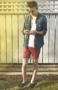 Michael Kors Denim Shirt, Zara White V Neck, Simons Shorts